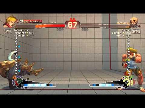 FocusAttack Ken Cross up jumping HK post foward throw midscreen (0:22) : Ken vs Gouken