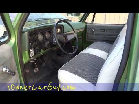 75 Chevrolet K10 Custom Deluxe Stepside Pickup Truck Project 350 Interior Motor Video #2