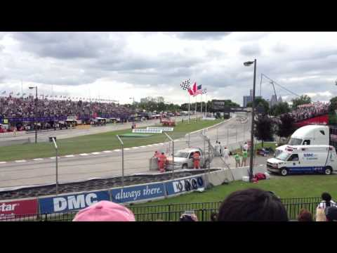 Indy Car crash Belle Isle Grand Prix 2013 on restart