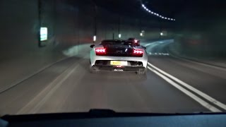EXTREMELY LOUD Lamborghini with Armytrix exhaust tunnel blast, downshifts and reactions!