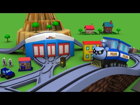 Trains for children - police cartoon for children - chu chu cartoon - Police car - Toy Factory