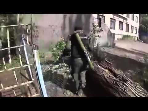 Ukraine War 2014  Separatist and Ukraine Military Battle Shooting in Slaviansk   COMBAT FOOTAGE