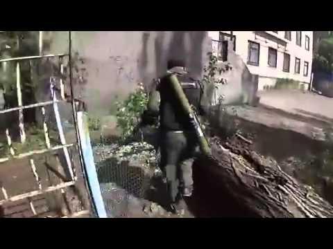 Ukraine War 2014  Separatist and Ukraine Military Battle Shooting in Slaviansk   COMBAT FOOTAGE