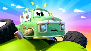 Moe The Tow Truck Monster Town is stuck on a cliff tree | Monster Trucks Cartoon for Children