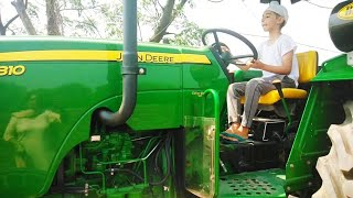 My Chachi son's first drive on tractor || Small kid driving tractor with his father
