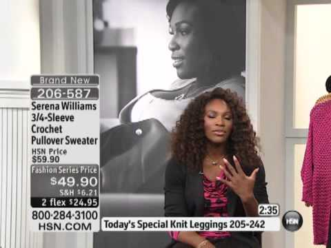 Serena Williams 3/4-Sleeve Crochet Pullover Sweater