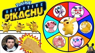 POKEMON DETECTIVE PIKACHU Spinning Wheel Slime Game w/ Surprise Movie Toys, Cards & Plush