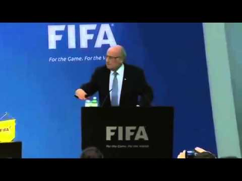 Sepp Blatter has money thrown at him at FIFA news conference in Zurich   YouTube 360p