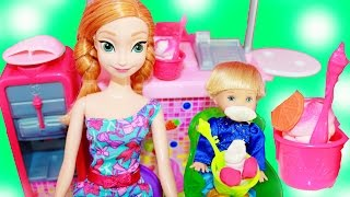 Frozen Kids Barbie New Play-Doh Frozen Yogurt Playset Disney Princess Anna Toby