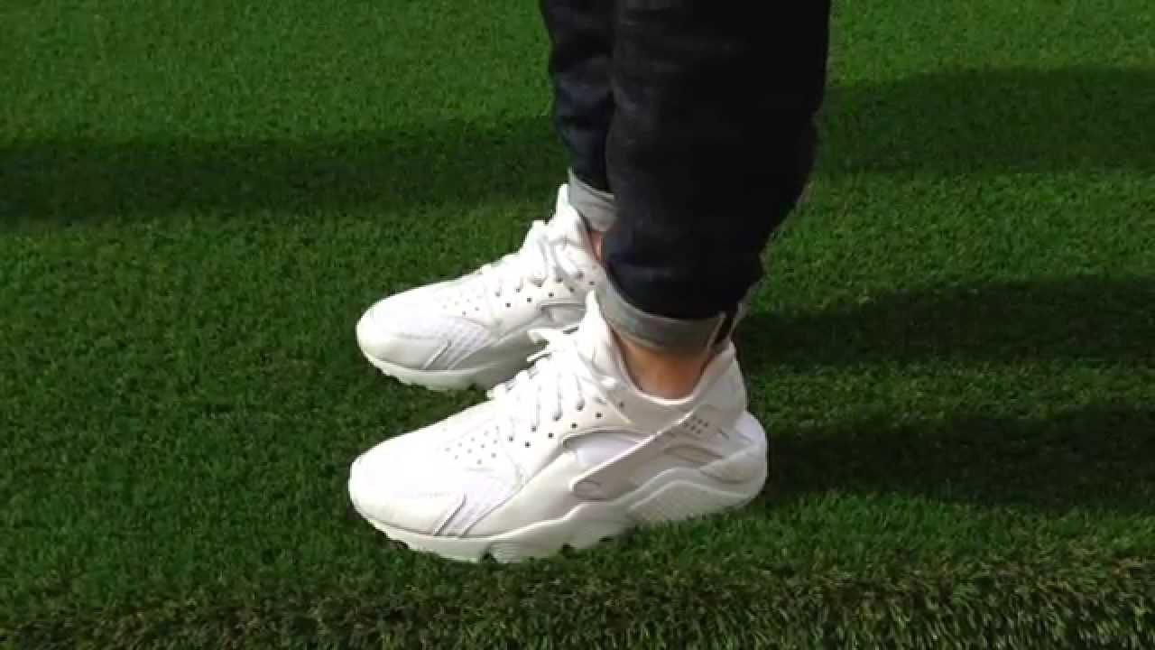 nike huarache white on feet