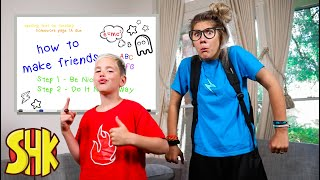 Noah's COOL VS AWKWARD! HOW TO MAKE FRIENDS Back To School Sis vs Bro Battle | SuperHeroKids