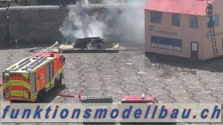 BIG FIRE, HEAVY FIRE IN WAREHOUSE,RC FIRE TRUCK,RC FIRE ENGINE- Modelltrucker, Fahrwangen, 2013