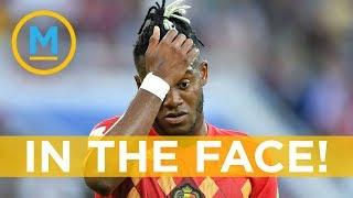 Belgian soccer star Batshuayi's goal celebration literally backfires | Your Morning