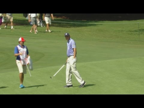 Matt Kuchar nearly drops in his approach for eagle at TOUR Championship