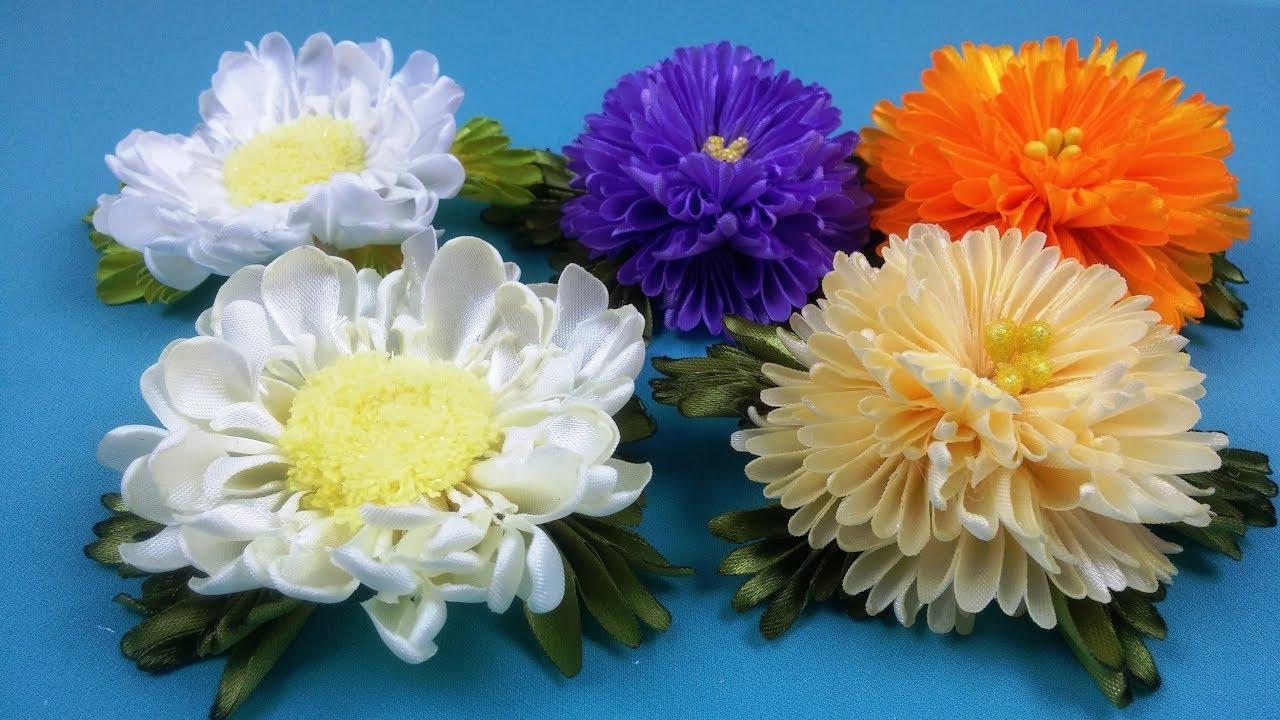 Цветы из лент хризантемы 49
