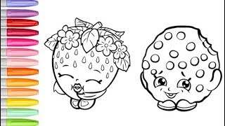 Coloring Shopkins Strawberry Kiss Cookie Coloring Book Pages Colored Markers Shopkins Coloring Video