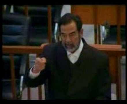 صدام حسين بيهزأ رئيس المحكمه saddam and the judge translated