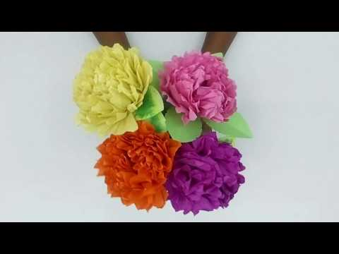 How to make pom pom flower by crepe paper (easy complete tutorial)