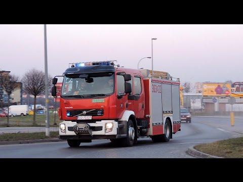 Straż pożarna alarmowo ulicą Małomiejską w Gdańsku. Na sygnale 303G22