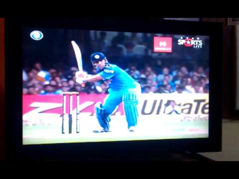 Ms Dhoni Helicopter Shot.....huge 110m Long Six video