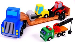 Car Carrier Transporter Skid Steer and Roller Toy Playset for Children Learn Colors