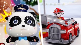 Paw Patrol Mission Paw | Mighty Pups Rescue Team | Super Panda | Monster Police Car | #ToyBus