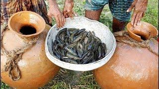 Unusual Fishing | Trapping Huge Country Fish Using Big Pottery Pot | Big Pot Fish Catching