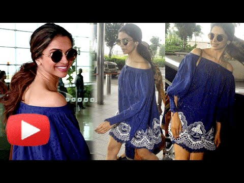 Deepika Padukone In Off Shoulder Mini Dress At Mumbai Airport