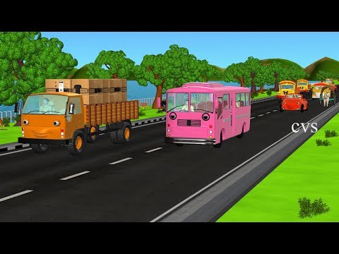 The Wheels On The Bus Go Round And Round ( Vehicles ) -3d Animation Nursery Rhymes For Children video
