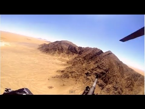 Chinook Helicopter Door Gunner in Afghanistan - Aerial Footage of Door Gunner Over Afghanistan
