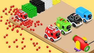 Learn Colors with Street Vehicles Toys and Color Balls - Educational Videos