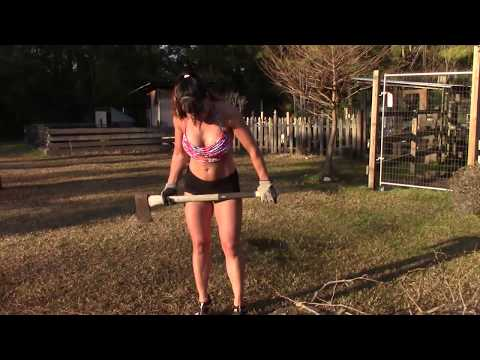 Almost 50 Year Old Farm Girl Chopping Wood