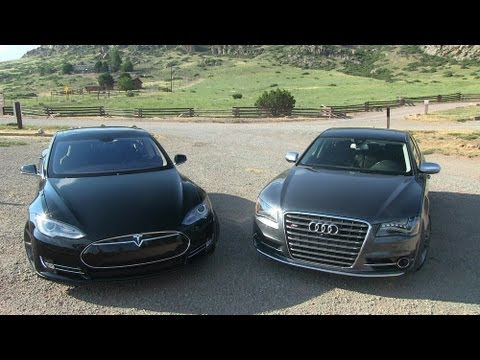 2013 Tesla Model S P85 vs Audi S8 Mile High 0-60 Mashup Review