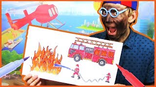 Fire Truck Coloring Page 🔥🚒 Draw and Color Fire Truck and Firefighter with Colored Markers