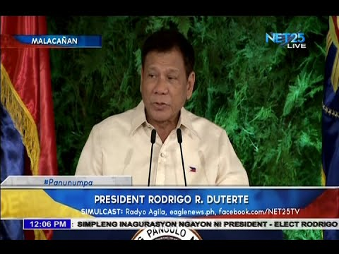 Duterte gives his inaugural speech as the new President of the Philippines
