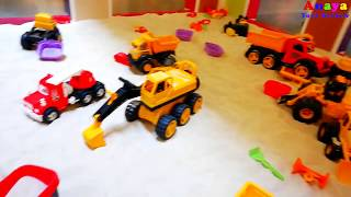 Construction Toys for Kids in Sand Pit | JCB Trucks CAT Digger Tractor Trailer Playtime