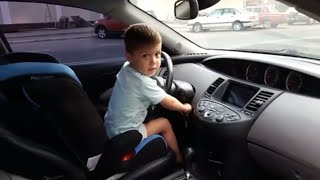 5 year old child drive a car /drive a car 5 year old child