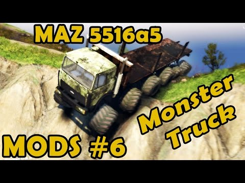Spin Tires Mod Review #6 - MAZ 5516a5 Monster Truck 12 wheel drive