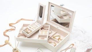LUTAVOY White Jewelry Organizer With Mirror and Travel Case JO2W