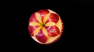Apple   Periwinkle Simple Flower   Beginner Lesson 138   By Mutita Art Of Fruit & Vegetable Carving