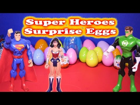 Opening the Super Hero Surprise Eggs with Superman and Batman