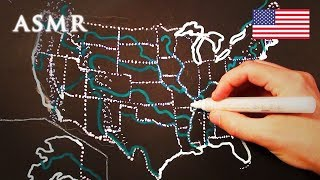 ASMR 1hr Drawing Map of the USA | Soft Spoken