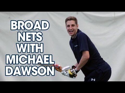England's Stuart Broad nets with Tottenham Hotspur defender Michael Dawson