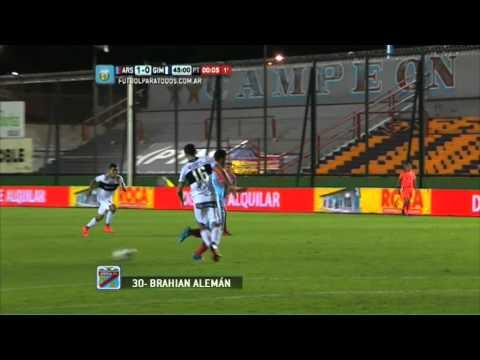 el gol de brahian aleman para el triunfo de arsenal