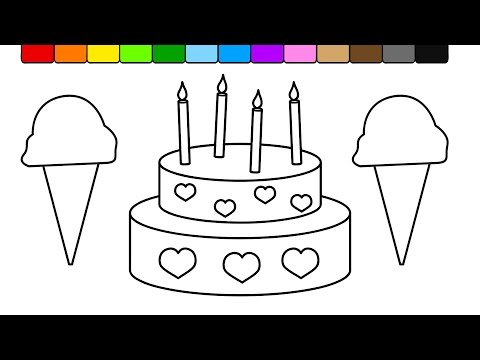 Learn Colors for Kids and Color this Ice Cream and Cake Coloring Page