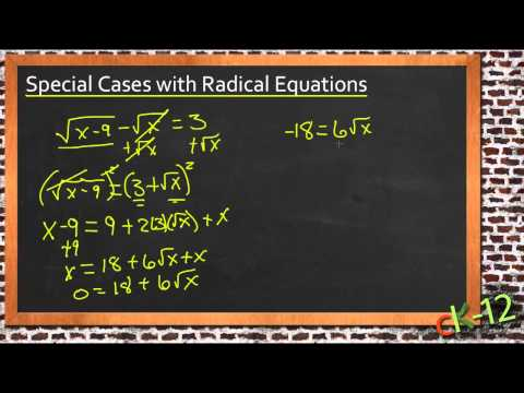 Special Cases with Radical Equations: A Sample Application