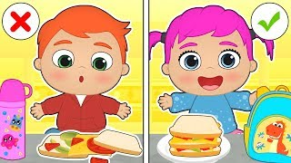 BABY ALEX AND LILY 🥪 Learn How to Make Packed Lunch to Go Back to School | Educational Cartoons