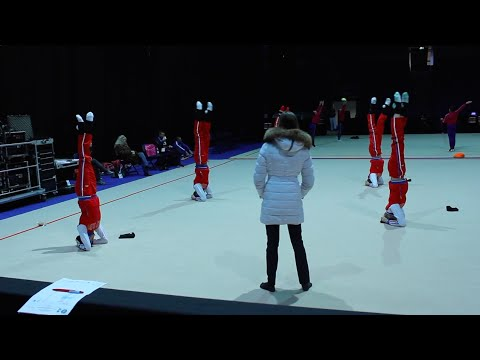 Rhythmic Gymnastics Training - Russian Group Warm Up
