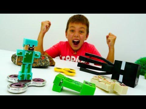 Стив охраняет базу Майнкрафт Лего с помощью Спиннера.