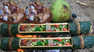 Primitive Technology: Primitive Cooking Chicken Gizzards in Bamboo in Forest